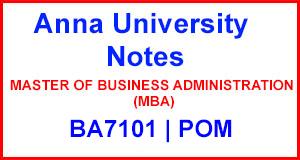 BA7101 Principles of Management Notes