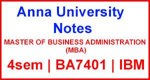 BA7401 International Business Management Notes