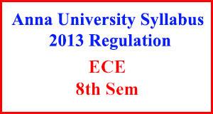 ECE 8th Sem Anna University Syllabus Regulation 2013