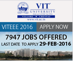 VIT Entrance Examination 2016 (VITEEE 2016)