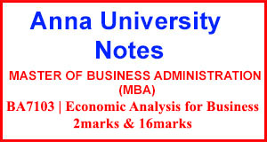 BA7103 Economic Analysis for Business Notes