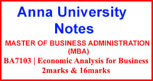 BA7103 Economic Analysis for Business 2Marks | 16 Marks