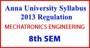 MECHATRONICS ENG 8th Sem Anna University Syllabus Regulation 2013