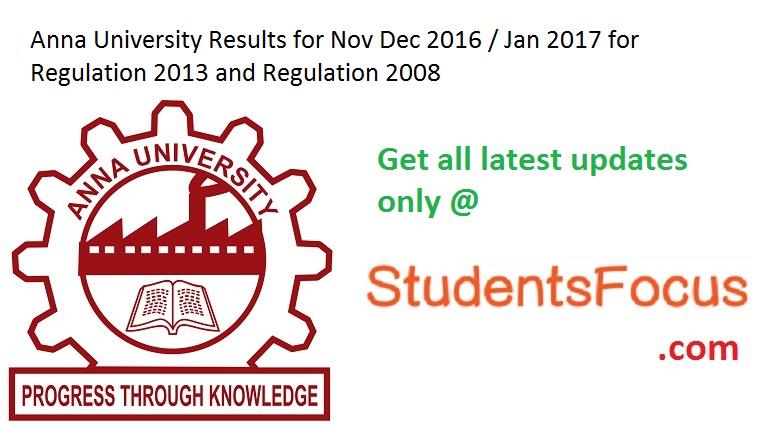 Anna University Results Nov Dec 2016 1st 3rd 5th 7th