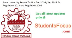 Anna University Results Nov Dec 2016 1st 3rd 5th 7th Semester Jan 2017 Exam