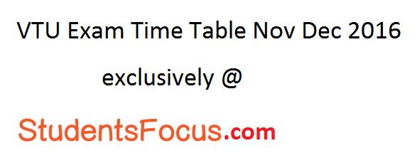 VTU Exam Time Table Nov Dec 2016